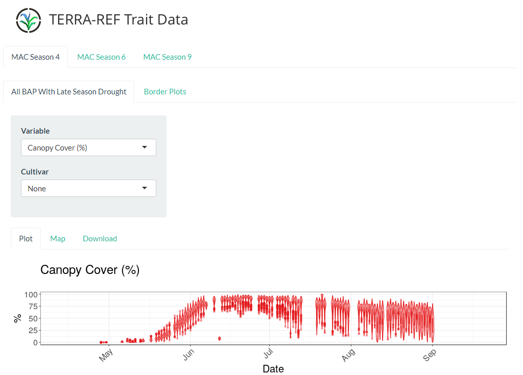 image of web interface to exploring trait data